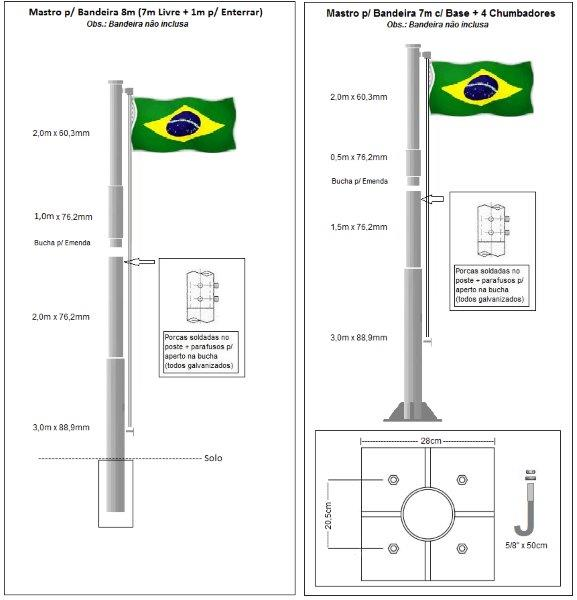 Mastro para bandeira em aço
