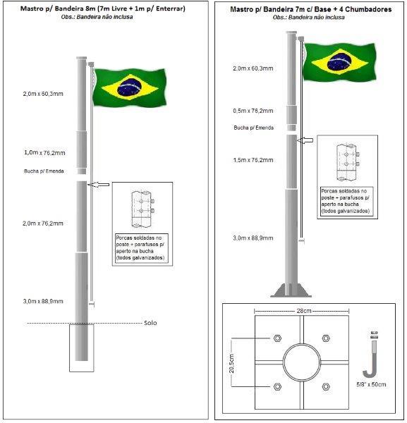 Mastro para bandeira externo