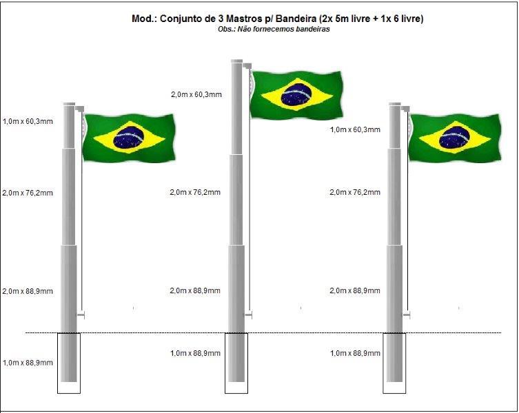 Mastro para bandeira galvanizado