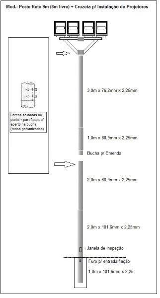 Poste para iluminação de quadra
