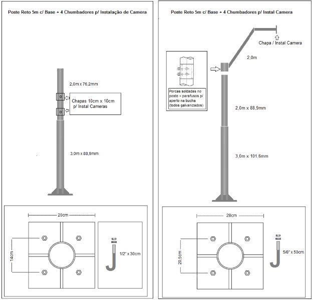 Poste tubular galvanizado preço